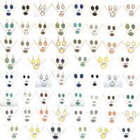 colgar pendientes conjuntos al por mayor-15 colores Druzy Drusy Collar Pendientes Conjunto de joyas Chapado en oro plateado Hexágono Resina Cristal Collares Pendientes colgantes Kendra Scott