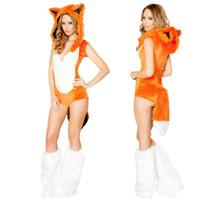 seksi kadın tilki kıyafeti toptan satış-Vocole Yetişkin Kadın Cadılar Bayramı Sahte Fux Fox Kostüm Seksi Hayvan Kostüm Fox Cosplay Fantezi Elbise