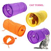 point de jeux achat en gros de-50 * 25 cm coloré pliable point chat animal de compagnie chat jeu tunnel de tente en plein air jeu jouant avec balle 3 couleurs AAA864