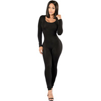 b8cca4e9e2b Rompers Womens jumpsuit New 2018 Winter Skinny Long Sleeve Full Length Black  O-neck Sexy Club Black Bodycon jumpsuits OverallsY1883108