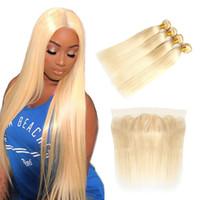 26 inç 613 insan saç uzantıları toptan satış-Perulu Düz 613 Sarışın saç Dantel Frontal düz İnsan saç dantel frontal Düz Virgin İnsan saç uzatma ile 3 demetleri
