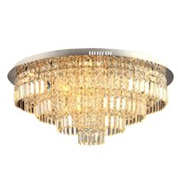 Wholesale light fluorescent ceiling flush for sale - Modern Large Crystal Ceiling Lamp Round led ceiling lighting fixtures home decoration for living room Dia80 H40cm