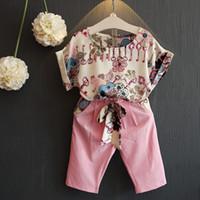 meninas set cinto venda por atacado-2018 Crianças Meninas Verão Roupas Conjunto Rosa Casual Floral T camisas Cinto Calças Roupas Ternos 2 pcs Impressão Twinset