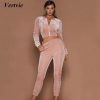 Wholesale women s yellow jumpsuit - Vertvie Brand Women's Velvet Tracksuit Running Fitness Sports Jumpsuits Outdoor Solid Long Sleeve Cardigan Sweashirt+Pants Suit