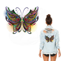Wholesale Iron Clothes Stickers - New Multicolor butterfly stickers 26*19.7 cm iron on patches DIY patch on clothes jacket thermal transfer
