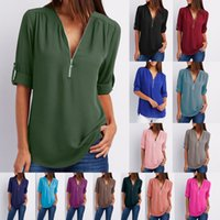 Wholesale sexy low cut tops - Women's Summer V Neck Solid Loose Casual Tees Cuffed Long Sleeve Blouses Ladies Low Cut Sexy Chiffon Material Top Shirts 16 Colors