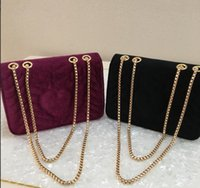 Wholesale italian chains - hOT Marmont velvet bag women famous brand shoulder bags real leather chain crossbody bag winter fashion handbags Italian 2018