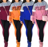 Wholesale pink girl suit pieces online - Pink Letter Print Women tracksuit Hoodie and Long Pants Set Ladies SweatShirts Trousers Clothing Suit outfit Casual Sportswear gifts