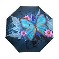 kelebek çiçekli kız toptan satış-Kelebekler üzerinde çiçekler kadın Şemsiye Yağlıboya 3 Katlanır Şemsiye Moda Lady Taşınabilir Kız Childrend Şemsiye Hediye