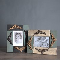 Wholesale Picture Blocks - Vintage Wooden Block stitching Picture Photo Frame Home Store Decoration Photo Prop Frame