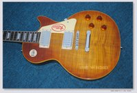 loja de carroçaria navio china venda por atacado-China Guitarra Melhor Tigre Chama Bordo Top Custom Shop Brown Mahogany Corpo 1959 R9 Guitarra Elétrica Frete Grátis