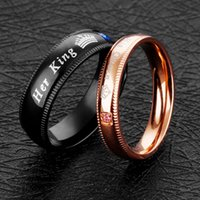 Wholesale Wedding Gift Ornaments - 2018 Titanium steel her King his Queen couple rings Valentine's Day ornaments gift for men women crown crystal ring wedding jewelry 080284