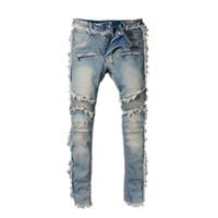modisch gestickte jeans großhandel-Mode Herren BLM Rock Renaissance Jeans Europa und die Vereinigten Staaten Street Style Jungen Loch bestickte Jeans Hosen Männer Jeans