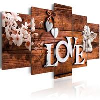 duvar resmi pembe çiçek tuvali toptan satış-Amosi Sanat Pembe Kelebek Orkide Çiçekler Tuval Baskı Duvar Sanatı Aşk Melek Ahşap Tahıl Arka Plan Boyama Duvar Resmi Ev Deco için ...