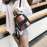 Wholesale korean small backpack for sale - Girls Diamond Rivet Stripe Canvas Backpack Mini Travel Leisure Small Backpacks Women Fashion Shoulder Bags Korean Style