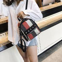 lona korean casual mochila venda por atacado-Meninas Rebite Diamante Listra Mochila de Lona Mini Viagem Lazer Mochilas Pequenas Moda Feminina Bolsas de Ombro Estilo Coreano frete grátis