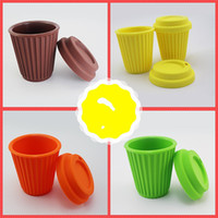 Wholesale silicone coffee cup covers - Silicone Mug With Cover Travel Accompanying Vehicle Food Grade Soft No Odor High Temperature Resistance Coffee Cup Popular 12ws V