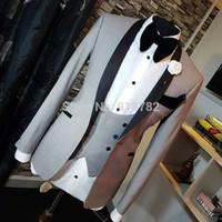 официальные брюки для мужчин оптовых-Wedding Suits For Men 2018 New Formal Men Suits With Pants Grey 3 pieces Tuxedo Slim Fit Wedding Dress Groom Suit Costume Homme