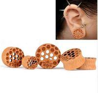 kulak tıkacı genişleticiler toptan satış-Ahşap Hücresel Örgü Kulak Tünelleri Piercing Takı Kadınlar Kulak Sedyeler Fişler Flesh Kulak Göstergeleri Genişleticiler 1 Çift
