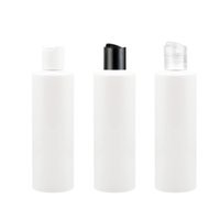 Wholesale empty plastic bottles shampoo - 40pcs lot 250ml white disc cap with white lotion bottle Empty Travel Perfume Bottles Disco cap Shampoo PET Refillable Bottle