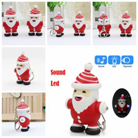 Wholesale Christmas Sound LED KeyChains Flashlight Key Ring Key Holder Christmas Decoration Kids Luminous Gifts kids collection toys FFA1325