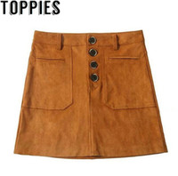671ed74d1f 2018 Winter Brown Color Faux Suede Leather Skirt with Buttons and Pockets  Retro Vintage Street Style Mini Skirt