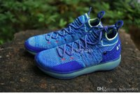 Wholesale kd mens - 2018 New Arrival KD 11 Basketball Shoes Black Grey Chlorine Blue Sneakers Kevin Durant 11s Designer Shoes Mens Trainers Shoe With Box