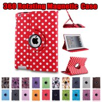 Wholesale waterproof ipad case online - Polka Dot Flower Rotating Magnetic PU Leather Stand Case Smart Cover For New iPad Pro Air Mini Mini2 Mini3