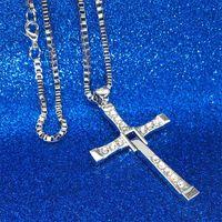 Wholesale dominic toretto pendant - 2018 The Fast And The Furious Dominic Toretto Vin New Movie Jewelry Classic Rhinestone Pendant Sliver Cross Necklaces Men 162676