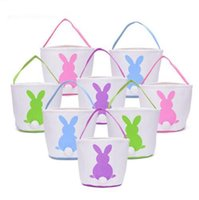 conejitos conejos al por mayor-Conejo de Pascua Cesta Conejito de Pascua Bolsos Conejo Impreso Lienzo Tote Bag Caramelos de huevo Cestas 4 colores 50 unids OOA3960