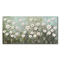 lona branca para pintura a óleo venda por atacado-Handmade Textured White Flower Arte Da Parede Da Lona Pintura A Óleo Abstrata Moderna Arte Floral para Sala de estar
