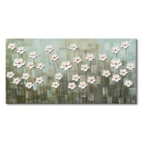Wholesale textured oil paintings for sale - Handmade Textured White Flower Canvas Wall Art Abstract Oil Painting Modern Floral Artwork for Living Room