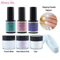 set de manicura blanco al por mayor-Kits de herramientas 7 en 1 de inmersión en polvo 18 g / caja French Manicure Pink White Sin necesidad de curado de la lámpara Uñas de polvo en polvo Natural Dry Healthy
