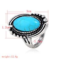 ingrosso turchese antico tibetano-New Punk Personalizzato Boho Ring Jewelry Vintage tibetano argento antico colore turchese pietra Anello per uomo donna regalo