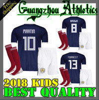Wholesale National Team Soccer Uniforms - 2018 2019 World Cup Scotland Home bule kids kit 18 19 QSTURM REPLICA SOCCER JERSEY National Team Football shirts Jerseys uniforms
