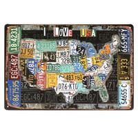 pintura del número de pintura vintage al por mayor-Route Plate Number Personality Metal Sign Vintage Patrón de la bandera americana Placas de pintura Retro nostalgia Bar decoración de la pared
