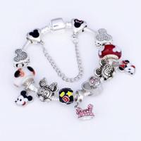 оригинальные браслеты пандоры оптовых-925 Murano Шарм бисер браслет для детей оригинальный DIY ювелирные изделия стиль Fit Pandora мультфильм браслет ювелирных изделий