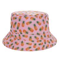 chapeaux roses pour femmes achat en gros de-Nouveau Plat Seau Chapeau Hommes Femmes 3D Imprimé Ananas Rose Bob Plage Chasse Hip Hop Sombrero Pescador Panama Filles