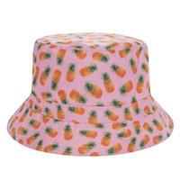 kadınlar plaj pembe şapkalar toptan satış-Yeni Düz Kova Şapka Erkekler Kadınlar 3D Baskılı Ananas Pembe Bob Plaj Avcılık Hip Hop sombrero pescador Panama Kızlar