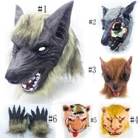 máscara de lobo animal venda por atacado-Festival de Halloween cavalo cheio de cara Lobo leão Hipopótamo cabeça de Borracha Máscara Animal festa de látex Máscara Animal crianças Partido Halloween Masquerade Máscara