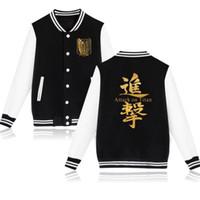 shingeki kyojin sweatshirt toptan satış-Japonya Anime Titan Koleji Koleji Ceketler Moletom Masculino Shingeki hiçbir Kyojin Legion Polar Erkekler Hoodies Tişörtü