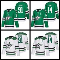 hockey jersey 91 2018 - mens Dallas Stars Hockey Jerseys 14 Jamie Benn 91 Tyler Seguin 2018-2019 new jerseys green white