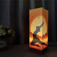 Wholesale Yoga Sunset Paper Shadow Lamp Night Light Warm White Light Touch Button AA Battery Bin USB Powered