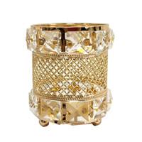 yeni tutan mum toptan satış-Yeni Tasarım Altın Mumluk Büyük Kristal Düğün Masa Centerpieces Parti Olay Şamdan Ev Dekorasyon Için Ayağı Şamdanlar