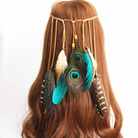 Wholesale feather leather hair online - Bohemian Headband Indian Peacock Feathers Color Hand Made Weave Multi Storey Hair Band Head Chain Ourist Memorial hx bb