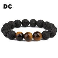 ingrosso yoga gifts-All'ingrosso-DC Vintage Round Big Black 12mm Lava Stone Tiger Eye Beads braccialetto di fascino per Boy Men Maschio in rilievo Yoga gioielli regali Pulsera