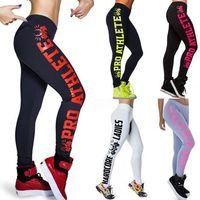 Wholesale Pants For Exercise - Letter Print Sporting Leggings Plus Size High Elastic Slimming Dancing Pants Fitness Female For Bodybuilding Aerobics Exercise Leggings