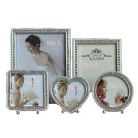 Wholesale photo frame table - MOYLOR 3 Inch 6 Inch 7 Silver Metal Frame Diamond Table Flocking Backplane Frame Birthday Gift Ornaments Q $
