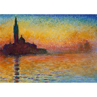 Wholesale art oil painting venice resale online - Handmade oil paintings Claude Monet Sunset in Venice canvas art for wall decor High quality
