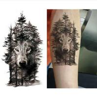 wolf aufkleber großhandel-Wasserdicht Temporäre Tattoo Aufkleber Wolf Wald Tier Baum Tattoo Aufkleber Flash Tattoo Fake Tattoos für Frauen Männer Arm Tattoos
